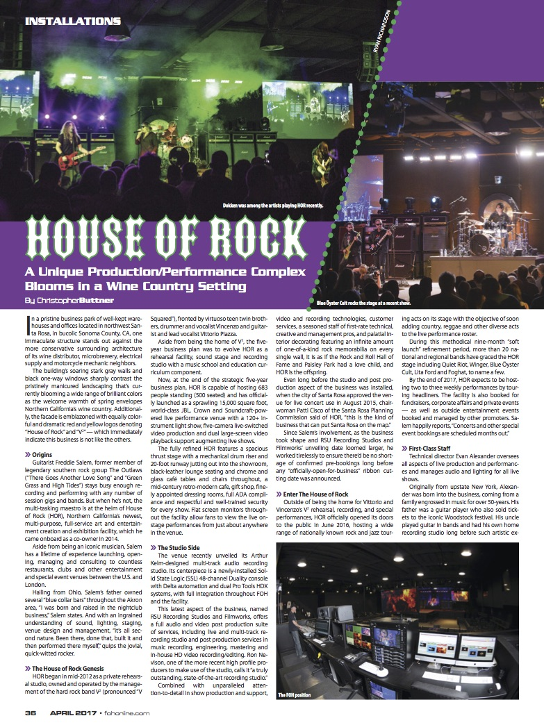 Front of house magazine spotlights house of rock rock for Front of house magazine